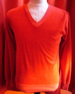 画像1: USED ベロアVネックシャツ
